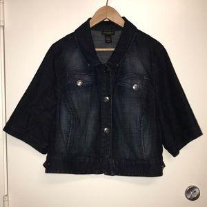 Lane Bryant Cropped Jean Jacket Dark Wash